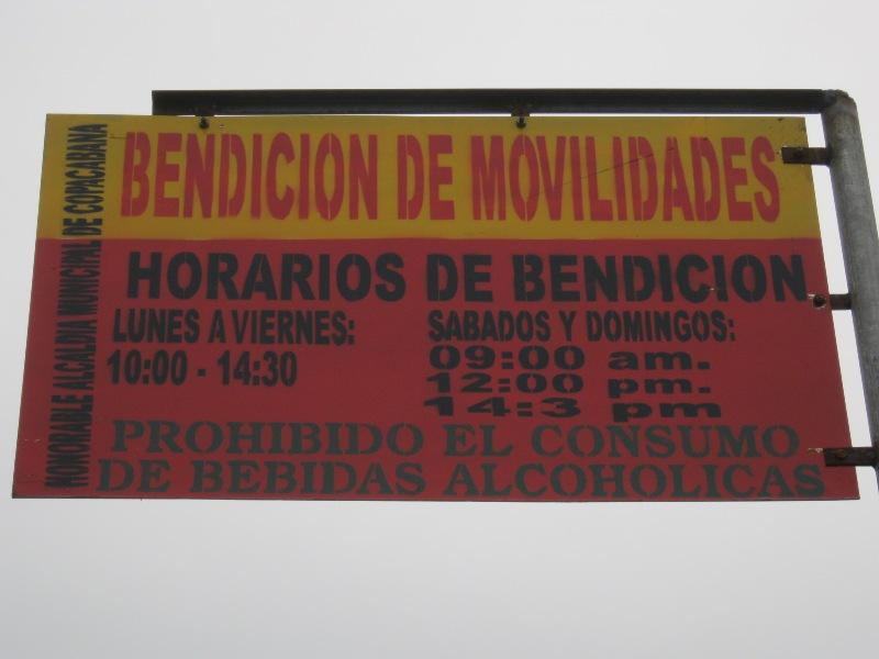Pancarte de bénédiction des voitures, Copacabana, Bolivie