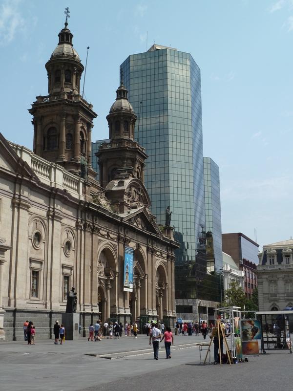 Place d'Armes, cathédrale, Santiago. Chili