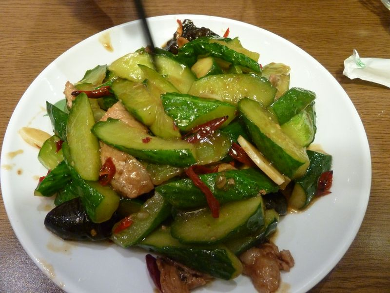 Cucumber with pork and chili, Qingdao, Chine