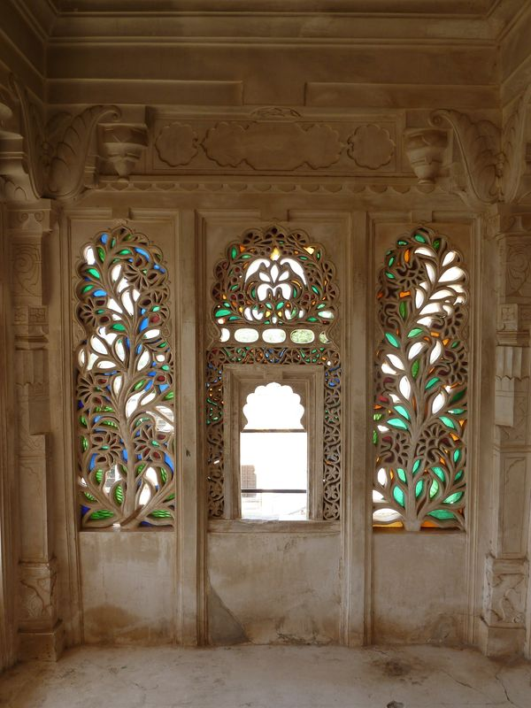 Stained glass of City Palace, Udaipur, India