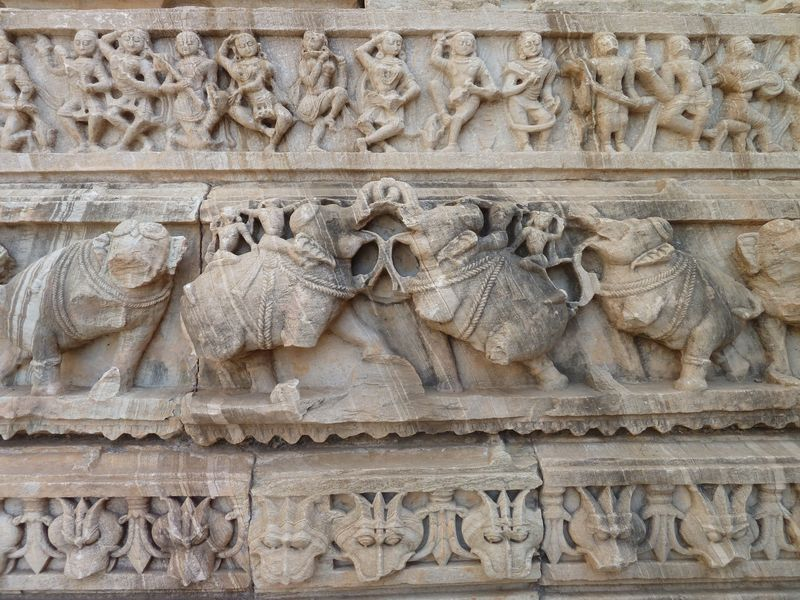 A temple detail, elephants, Chittorgarh, India