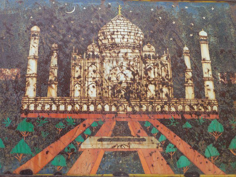 Vieux panneau du Taj Mahal, Agra, Inde