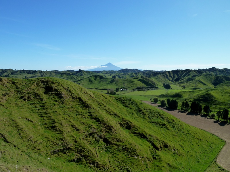 Mount Taranaki far away, New Zealand