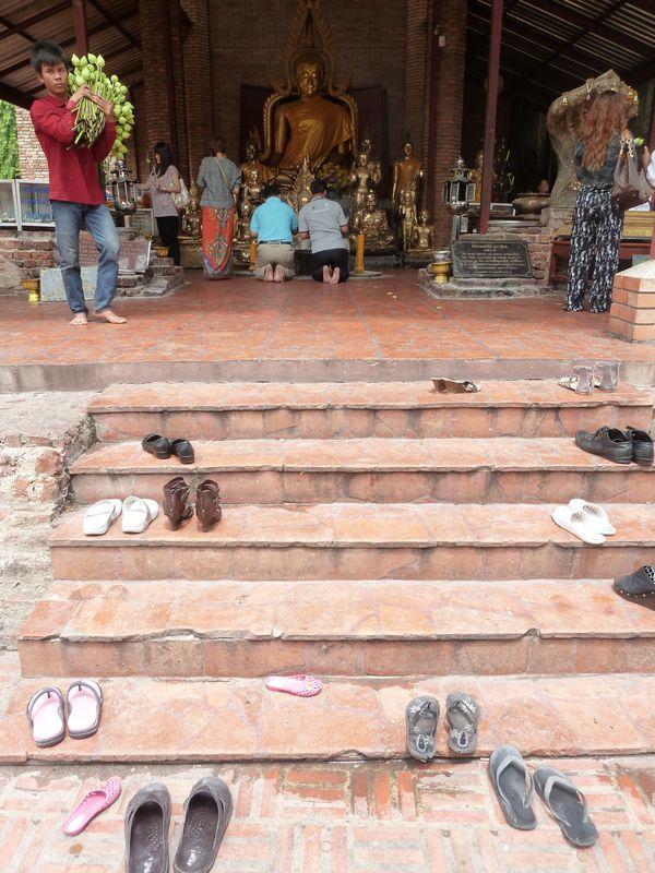 Wat Yai Chai Mongkhon, devant le temple, Ayutthaya, Thaïlande