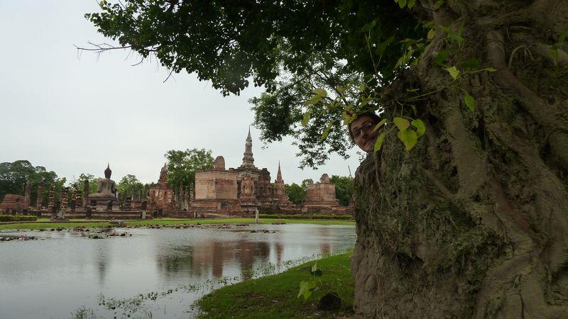 Wat Mahathat, Rémi shows his head, Sukhothai, Thailand