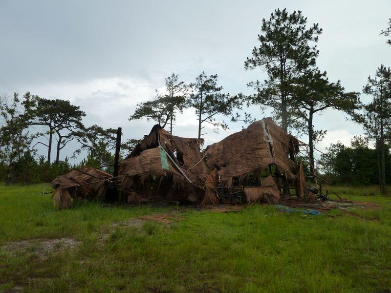 Huttes détruites par les éléphants, Phu Kradung, Thaïlande